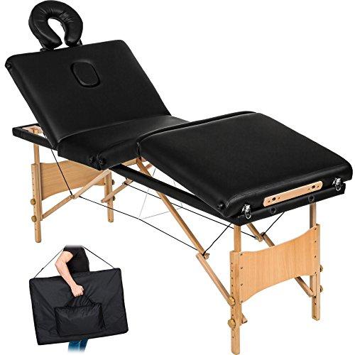 Tectake 4 zone lettino da massaggi portatile massaggio fisioterapia pieghevole + borsa - disponibile in diversi colori - (nero | no. 401769)