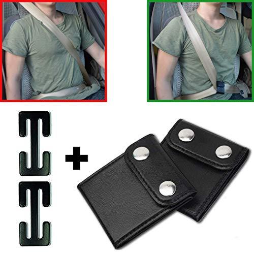 Auto Sicherheitsgurt Clips, Gurt aus Halsbereich entfernen, 4er Pack mit zwei Varianten, bis 4 cm Gurtbreite I Gurt verstellen und einstellen, Sicherheitsgurt Stopper, Leder Metall Adapter für PKW