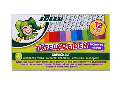 JOLLY 8320-0004 - Tafelkreide 12er set, farbig sortiert, eckig