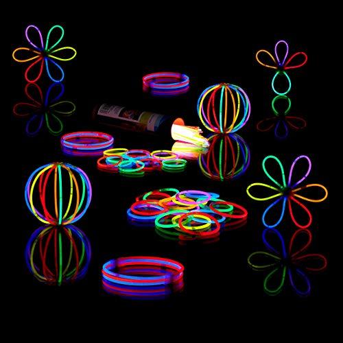Relaxdays 400 Knicklichter inkl. 416 x 3D-Verbinder, 8 h Leuchtdauer, Glow Stick, Leuchtstäbe Profiqualität, 7-Farb-Mix (Blau Glow Armbänder)