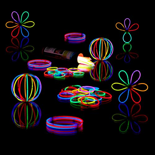 Relaxdays 400 Knicklichter inkl. 416 x 3D-Verbinder, 8 h Leuchtdauer, Glow Stick, Leuchtstäbe Profiqualität, 7-Farb-Mix