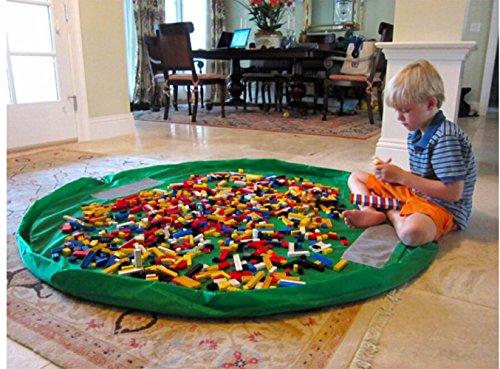 Toocoo Segeltuch Kinder Spielmatte Aufräumsack Spieldecke Spielzeug Speicher Tasche 150cm Für Lego Spielzeug ( Grün )