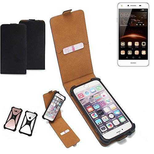 K-S-Trade Flipstyle Hülle für Huawei Y5 II Dual-SIM Handyhülle Schutzhülle Tasche Handytasche Case Schutz Hülle + integrierter Bumper Kameraschutz, schwarz (1x)