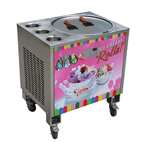 Kolice 50 cm runde Eispfanne + 3 Tanks Fried Ice Cream Roll Maschine Instant Fry Ice Cream Machine Roll Ice Cream Machine Roll Ice Machine Auto Defrost and PCB of Smart AI-Temp. Controller Food Equipment Manufacturers