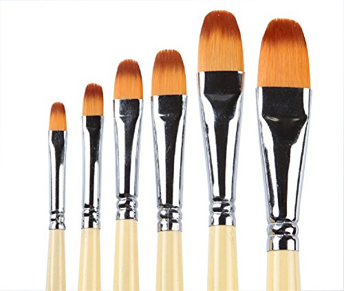 6Pcs 6 verschiedene Größen-Farben-Bürsten-Satz-Sable Weasel Faser-Haar-goldene Birken-hölzerne Handgriff-Bürsten für Aquarell-, Acryl- und - Red Pinsel Sable