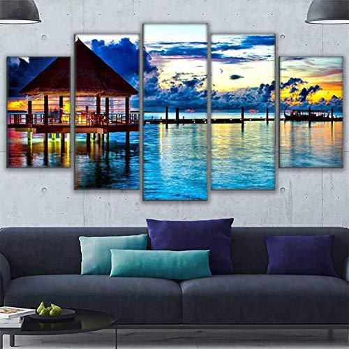 ASDZXC Einrichtungsgegenstände Wohnzimmer Leinwand Hd Drucke 5 Stücke Foto Tropischen Wasser Bungalow Malerei Strand Paradies Kunst Wand Poster Mit Rahmen -