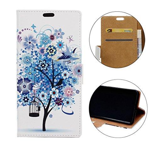 Sunrive Hülle Für ZTE Blade A6 Premium/ZTE Blade A6, Magnetisch Schaltfläche Ledertasche Schutzhülle Case Handyhülle Schalen Handy Tasche Lederhülle(Muster Blue Tree)