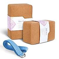 Arltb mantar Yoga Block 2paket ve Yoga set metal D-ring 10,2inç x 15,2x 22,9cm Cork Yoga tuğla ve 20,3cm Yoga kayış doğal ve dayanıklı malzeme için her tür Yoga stillerle