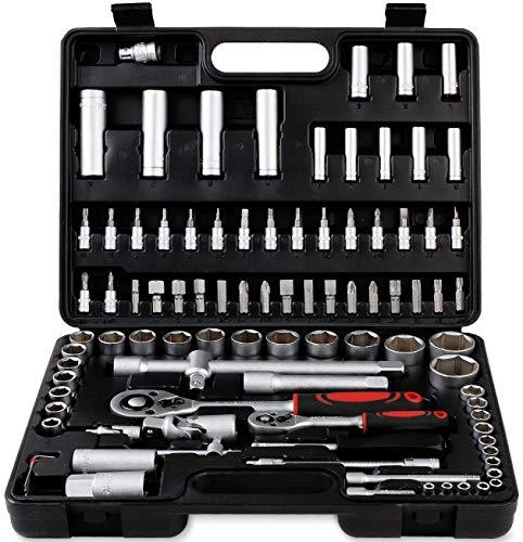 Maletín de Herramientas 94 piezas, Juego de llaves combinadas de carraca, llaves con casquillo e inserciones, herramientas manuales de trabajo