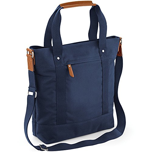 Bagbase Unisex Vintage Tote Bag Navy (Zippered Bag Tote Handtasche)