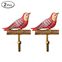 Zhi Jin 2Pcs Natural Resin Birds Hooks Wall Door Hanger Rack Craft Decor for Office Home