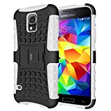 Custodia Galaxy S5,Cover S5,Shock-Absorption Bumper,Protettiva Stand Case,Copertura Protettiva in Plastica e TPU Custodia per Galaxy S5 / Neo bianco