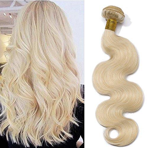 60cm extension capelli veri matassa tessitura biondi mossi #60 biondo platino 100g una ciocca/pack 100% remy human hair virgin