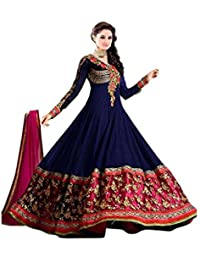 Florence Women's Net Unstitched Salwar Suit(SB-3465_Navy Black_Free Size)