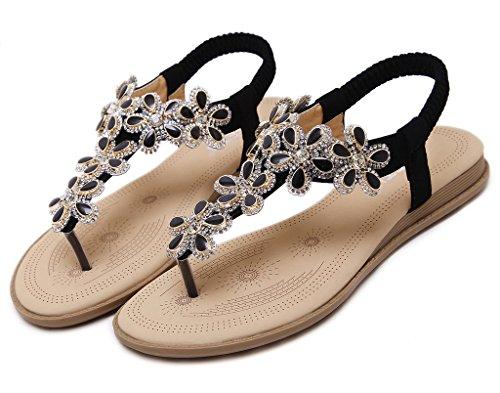 Adatti fiore cinghia Fortunings Donne perline sandalo T Per strass JDS Nero piatta cinturino 56nx4np
