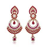 #10: I Jewels Gold Plated Traditional Designer Earrings for Women E2311Q (Pink)