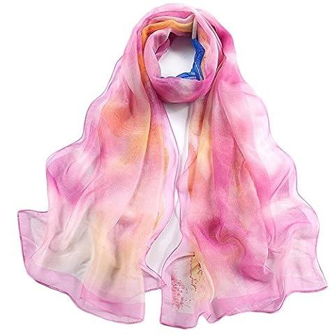 Yxzn Femme Mode Châle Écharpe de soie, 4
