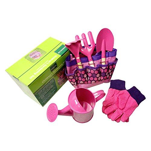 Manyo Petit Ensemble d'outils de Jardinier pour Les Enfants, Jardinage Garçons Filles, Jouets pour Enfants (Rose)