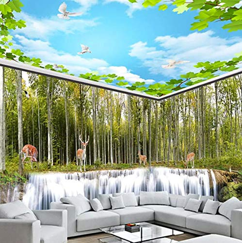 3D Vliestapete Fototapete 3D Atmosphere Home Living Room Bedroom Ceiling Wallpaper Blue Sky White Clouds Green Leaves Ceiling Background Wall Covering Decorative Murals, 350 * 245