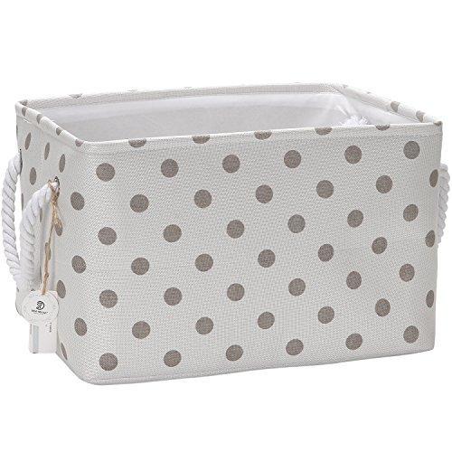 Sea Team Collapsible Rectangular Fabric Storage Bin Decorative Wardrobe Shelf Basket Organizer with Rope Handles for Clothes Storage & Toy Organizer (Grey Polka Dot) (Canvas Garment)