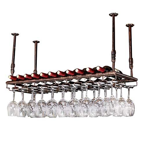 lquide Decken-Wein-Racks Retro Wein Champagner Glas Becher Stemware Rack Metall Wein Lagerung Display-Ständer, Bronze, 60/80/100/120 / 150cm (größe : 120×35cm) - Lagerung Champagner-gläser