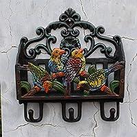 Eeayyygch European Style Country Cast Iron Wrought Iron Coloured Drawing Parrot Modeling Coat Hook Magazine Storage Rack