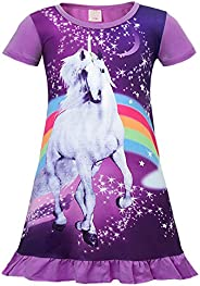 AmzBarley Camisón de Algodón Pijama Niña Unicornio Chica Manga Larga Vestido Fiesta Entero una Pieza Ropa de D