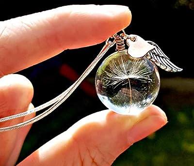 Cadeau de noel pour les femmes Chaîne en argent sterling Coeur en or rose collier de pissenlit - collier d'aile d'ange pendentif en verre bijoux commémoratifs pour les femmes cadeau fait à la main