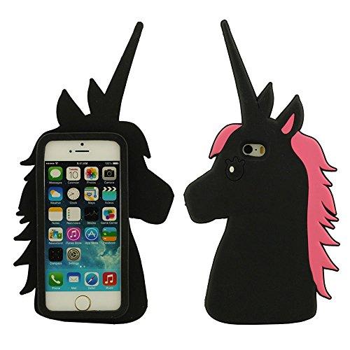 iPhone 5S Coque iPhone SE Étui Anti Choc Joli 3D Chat noir Désign Populaire Doux Silicone Gel Coque Protection Case pour Apple iPhone 5 5S SE 5C 5G avec 1 Silicone Titulaire noir-1