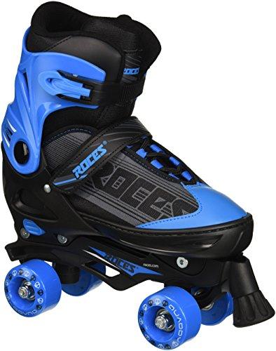 Roces Jungen Quaddy Rollschuhe Kinder Größenverstellbar, Schwarz/Blau, 26-29