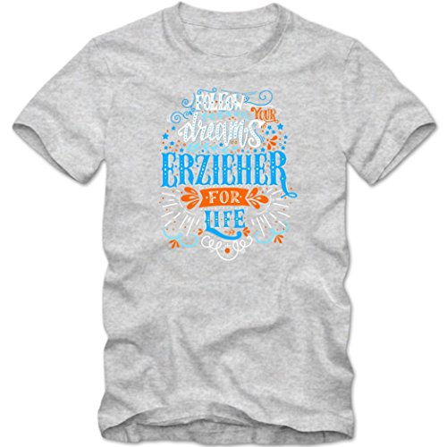 Flowerpower Erzieher #1 T-Shirt | Berufe | Follow your dreams | Traumberuf | Herren | Shirt © Shirt Happenz Graumeliert (Grey Melange L190)
