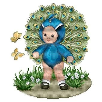 Ellen Maurer-Stroh   Kreuzstichvorlage Stickvorlage - Peacock Baby (Peacock Baby Kostüm)