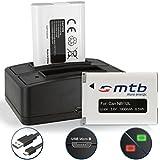 2 Baterías + Cargador doble (USB) para Canon NB-12L NB12LH / PowerShot N100 / G1 X Mark II / Legria, Vixia Mini X