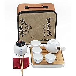 T Tocas Reisen Kungfu Tee-Set handgemachte chinesische/japanische Vintage, Porzellan (Qinghua Stil- 4 Teetassen & Teekanne & Tee-Tank)