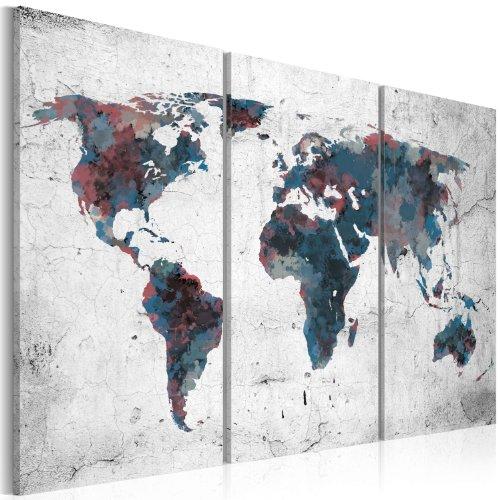 Murando - quadro 120x80 cm - 3 parti - quadro su tela fliselina - stampa in qualita fotografica - mappa del mondo 020113-92