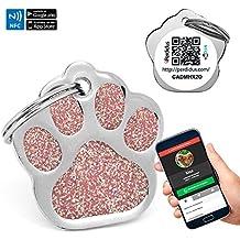 Chapa Placa Identificativa para Perros Huella Brillante con tecnología NFC Contactless y QR gestionable vía APP | (Rosa)
