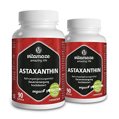 Astaxanthin Kapseln mit 4 mg natürlichem Astaxanthin VEGAN 2x 90 Stück für je 3 Monate Qualitätsprodukt-Made-in-Germany ohne Magnesiumstearat, jetzt zum Aktionspreis und 30 Tage kostenlose Rücknahme!