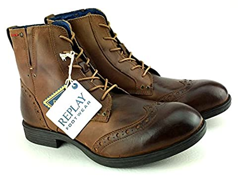 Replay Corn Tan Mens Side Zip Mid Ankle Leather Army Shoes Boots