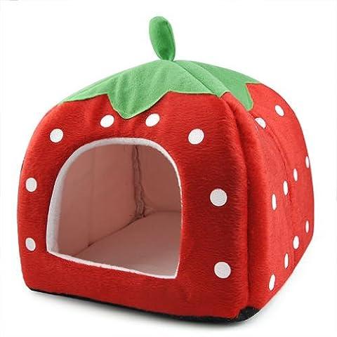 DcolorDoux fraise Animaux Igloo Chien Chat Lit Coussin Maison Kennel Chiot Panier Rouge- M