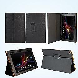 Housse Cuir Style luxe Ultra Slim tablette Sony Xperia Z Tablet 16 Go/32 Go (Wifi ; LTE/4G) avec Multi Stand et fonction Smartcover (mise en veille automatique à la fermeture) - Etui coque noir XEPTIO authentique Sony Xperia Z Tablet 10.1 pouces étanche (Android 4.1) - Prix découverte Accessoires pochette de protection XEPTIO cover : Exceptional case !