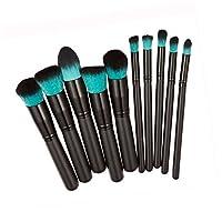 Tonsee Pro 10pcs Makeup Cosmetic Blush Brush Eyebrow Foundation Powder Brushes Kit Set Blue + Black