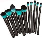 Tonsee 10pcs Kabuki Style Professional Make up Brush Set Foundation Blusher Face Powder