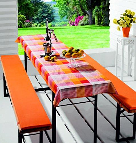 FTS-exclusiv 5240 Biertischauflage gepolstert mit Tischdecke für Biertische /-tischgarnitur /-zeltgarnitur, 3-teilig, orange kariert