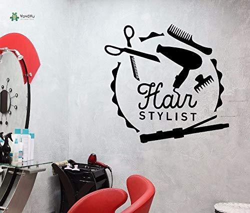 Vinyle Sticker Ciseaux Peigne Miroir Coiffure Coiffeur Styliste Outils De Salon De La Salle Intérieur Art Stickers 42x44cm
