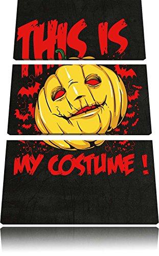 Halloween Kostüm Abstrakte Kunst (My costume black Bild 3-Teiler Leinwandbild 120x80 Bild auf Leinwand, XXL riesige Bilder fertig gerahmt mit Keilrahmen, Kunstdruck auf Wandbild mit Rahmen, gänstiger als Gemälde oder Ölbild, kein Poster oder)