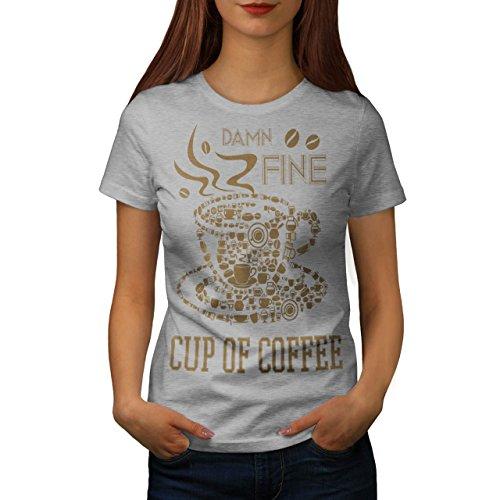 Kaffee Tasse Heiß Fein Essen Damen S-2XL T-shirt | Wellcoda Grey
