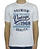 My Generation Gifts 1968 Vintage Year - Aged to Perfection - Cadeaux Anniversaire 50 Ans T-Shirt Pour Homme Blanc Bleu M