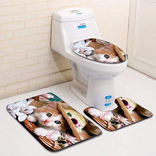 GFF Toilettenkissen Haushalt Polyesterfaser 3D Kätzchen Bad Toilette dreiteilige Bodenmatte Fußmatte Bad Teppich - Bad Kätzchen
