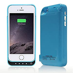 Stoga 4200mAh esteso batteria Backup batteria Caricabatterie caso Backup Power Bank Pack per iPhone 5C 5 5S + Click Stand + batteria ricaricabile + custodia + LED indicatori- Blu