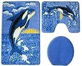 Badgarnitur 3-teilig Wal Motiv mit Ausschnitt. 60x100cm (große Matte), Orca blau weiss schwarz für Stand-WC